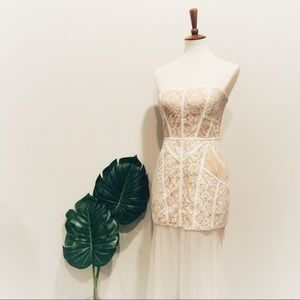 New BCBG MaxAzria Vivienne Lace Strapless Dress
